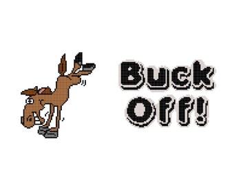 Buck Off Cross Stitch PDF Pattern