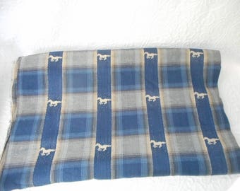 """Vintage  Blue Plaid Fabric with Horse Designs-Woven Cotton- 132"""" Long x 44"""" Wide - Very Nice!"""