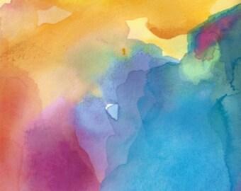 Watercolor Painting, Abstract Art, Rising Heart