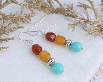 Colorful Earrings, Turquoise Earrings, Southwest Earrings, Multicolor Earrings, Red, Yellow Bead Earrings