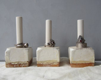 ONE Petitie Ring Holder Display Organizer - Architectural Salvage - Shabby Chic - Cream Jewelry Storage - Quantities Available READY to SHIP