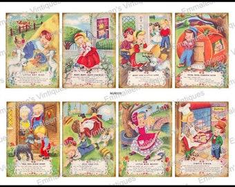 Digital COLLAGE Sheet 8 Vintage Grunge Nursery Rhymes Collage Sheet ATC ACEO / Retro Children Tags Images—Printable Ephemera