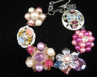 Bridesmaid Gift, Vintage Earring Bracelet, Pink, Rhinestone, Silver, Blue, Purple, Charm, Jennifer Jones, Under 40, Cluster, OOAK - Jewel