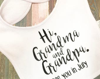 Baby, Pregnancy, Announcement, Bib, Husband, Grandparents, Aunt, Reveal, Keepsake, Parents, Ideas, Grandma, Grandpa