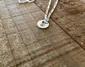 """Peace sign necklace- Peace necklace-peace sign jewelry-dainty 3/8"""" hand-stamped necklace-gift"""