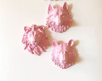 SET of 3 SMALL Animal Head wall mounts Choose your colors Choose 3 animals heads from the 6 options: bear wolf zebra lion tiger or elephant