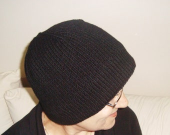 Wool Hat Black Hat for Womens Hats Winter Hand Knit Hat Simple