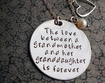 Grandmother Granddaughter Necklace The Love Between a Grandmother and Granddaughter is Forever Mother's Day Gift For Grandma