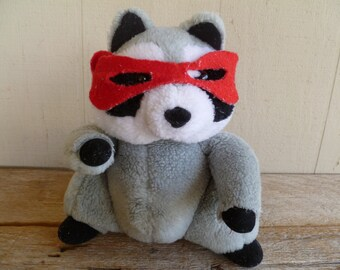 Vintage Raccoon Plush Animal Toy 10""