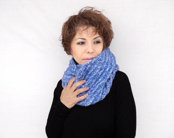 Knitting Cowl - Blue Hand Knit Neckwarmer - Blue Circle Scarf - Winter Accessories, ready to ship