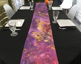 Plum painted fabric table runner