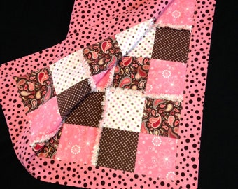 Paisley Western pink brown cowgirl rag quilt, Rodeo Self binding receiving baby blanket, polka dot, 3 flannel layers, baby gift 35x35