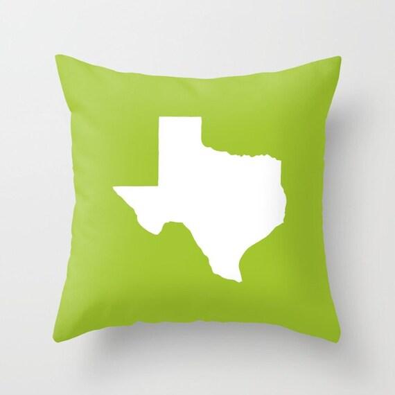 Texas Throw Pillow . Lime Pillow . Texas Cushion . Lime Green Pillow . Texas Pillow . Texas State . Lime Cushion Texas Gift 14 16 18 20 inch