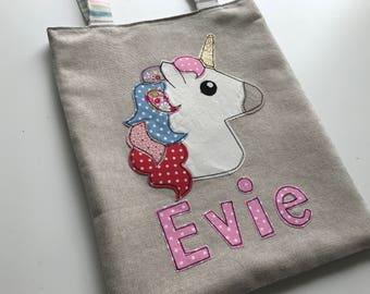Unicorn bag | Child's unicorn bag | Tote bag | Child's tote bag | Personalised unicorn bag |