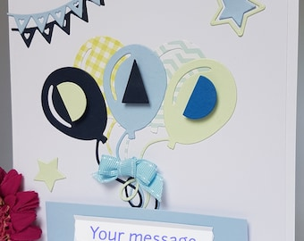 "3D  ""DAD"" Balloon Birthday Card Bow Dad Daddy Father Pop Handmade FD02"