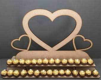 Y23 Triple Love Heart Ferrero Rocher Display Stand 80x Chocolate Wooden Tree Stand Table Top MDF Wedding Engagement Party Sweet Candy Cart