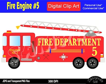 Fire Engine, Fire Truck, Fire Truck Clipart, Fire Engine Clipart, Commercial Personal Use Instant Download