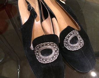 Vintage 60s Suede Black Shoes