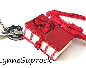 enamel Red Heart Book