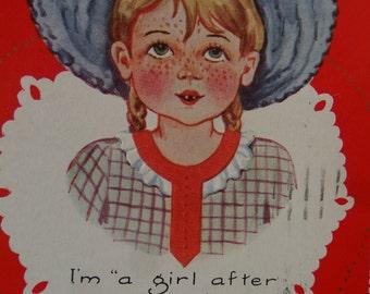 Vintage Valentine Post Card Red head Girl