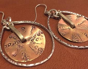 Silver and copper earrings- hoop earrings- textured- rustic-tribal- birthday-anniversary- unique -handmade-hypoallergenic