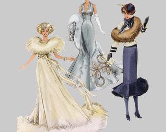 1930s Barbie Fashion Clothes Sewing Pattern Simplicity 9704, Barbie gloves, Three dresses one 1932 fashion, 1935 fashion, 1938 fashion UNCUT