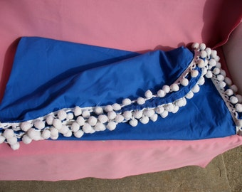 Vintage Tablecloth Round Royal Blue with White Pom Poms Hand Made