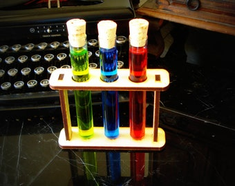 Three Large Custom Test Tubes with Corks and Holder Mad Scientist Lab