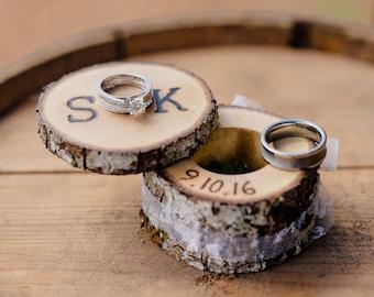 Rustic Ring Bearer Pillow Box Log Ring Bearer Box Country Wedding Proposal Ring Box Barn Wedding Woodland Wedding Ring Holder Box Custom Box
