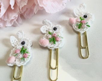 3 Crochet Bunny Paper Clips, planner, planner clips, Easter Bunny,  Accessory, Bookmarks, Journal, crochet book markers, Crochet Bunny Clips