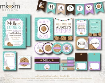 Milk and Cookies Party Kit, Milk and Cookies Invite, Milk and Cookie Birthday, Birthday Banner, Cookie Party Decor, Teal and Purple, #54