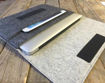 100% Wool Felt MacBook Case - MacBook Sleeve - Mottled Dark Grey and Mottled Light Grey