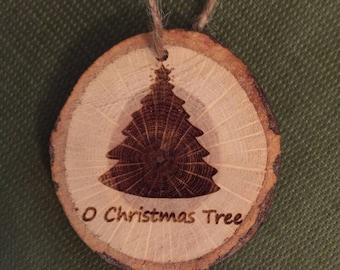 Wood slice Christmas ornament. Rustic Christmas ornament. Christmas Tree ornament. Free shipping!