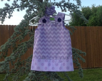 Chevron Dress, Lavender Two Tone (baby, infant, girl, child, toddler) -  with matching hair accessory.