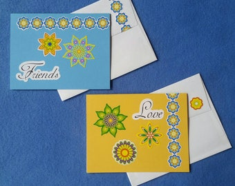 Two Handmade Mandala Greeting Cards - Love and Friends Blank Cards with mandala designs, yellow and light blue textured cards
