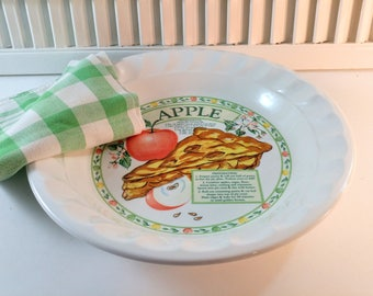 """Vintage 10"""" Ceramic Deep Dish Pie Plate with Apple Pie Recipe. Himark Golden Pie Collection. Made in Korea. Country Farmhouse Kitchen Decor."""