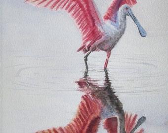ROSEATE SPOONBILL  PRINT, Beach Decor, Watercolor Bird, Coastal Art, Spoonbill Wall Art, Nautical Home Decor, Spoonbill Painting,Beach Print