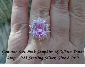 Genuine 6 ct Pink Sapphire & White Topaz Ring