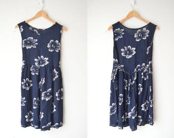 dark blue floral mini babydoll dress 90s // M-L