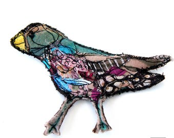 Multicolored textile art brooch - Sculptural textile bird art pin - Fiber art pin- wearable art accessories - good vibes felt art from Paris