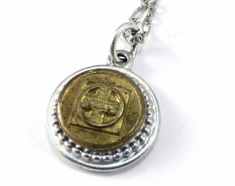 SANTA FE Necklace, Antique Train Button Necklace, RAILROAD Uniform Button Pendant, Travel Train Adventure Jewelry