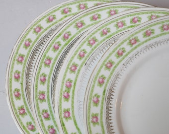 4 Lunch Plates Crown Imperial China Austria Pink Roses Green Buds Gold Scroll  Mix and Match China Replacement