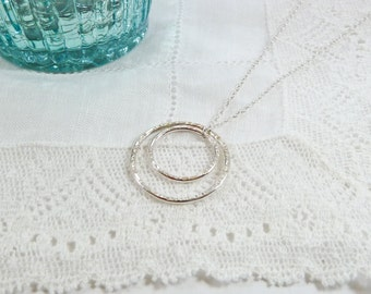 Eternity Necklace, Silver Circles Necklace, Gift for Sister, BFF Gift, Sterling Silver, Hammered Rings, Minimal, Karma, Two Circle Necklace