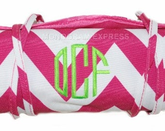 Monogram Jewelry Organizer | Personalized Jewelry Case | Rollup Organizer | Makeup Bag | Jewelry Travel Bag | Hot Pink Chevron Jewelry Case