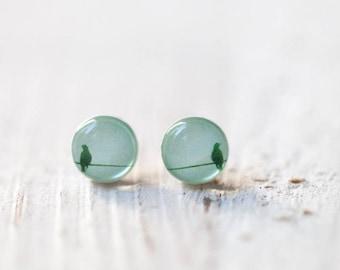 Tiny bird stud earrings, Bird earring studs, Tiny earring studs, Gift for her, Mint earrings stud, Mint stud earrings, Tiny bird earrings
