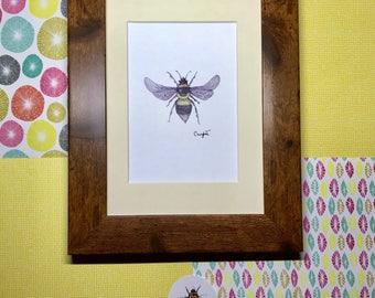 "Framed ""Gardenbee"" Bumblebee Art Print, rustic frame, wooden frame print, shabby chic wall art, insect wall art, framed bee art, framed inse"