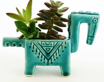 Horse Succulent planter, Succulent pot, Ceramic Home Decor, Handmade Turquoise Horse Mini Planter, Blue Pottery, Succulent Mini Pot, Gift