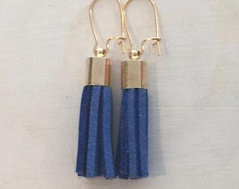 Mini Suede tassel earrings, Blue