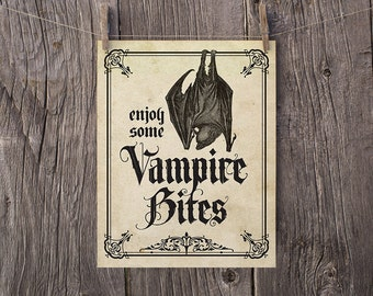 8x10 Printable Halloween Decorations, Halloween Party Sign, Enjoy Some Vampire Bites Print, Haunted House Sign, Printable Halloween Decor
