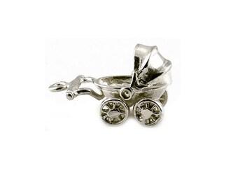 Sterling Silver Movable Pram Charm For Bracelets
